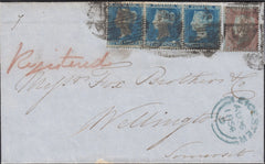 122111 1854 REGISTERED MAIL LEICESTER TO WELLINGTON SOMERSET WITH 'BRISTOL.STATION' DATE STAMP.