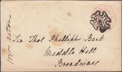 125310 1842 SOLID CENTRE MALTESE CROSS OF SHREWSBURY ON 1D PINK ENVELOPE TO BROADWAY.