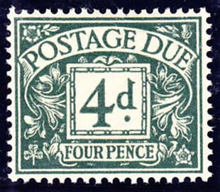 14128 - 1937 4d Dull Grey-Green Postage Due (SG D31). A su...