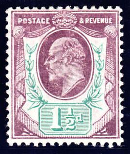 17089 - 1905 1½d Dull Purple and Bluish Green (SG 223var Spe...