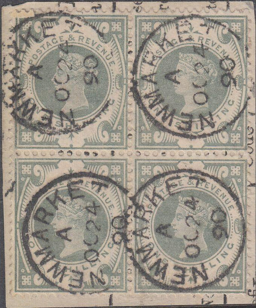 20730 - 1887 1S Dull Green (SG 211) USED BLOCK OF FOUR. A superb used block ...