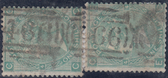 24249 - 1865 THE LIVERPOOL '466 466 466 ...' ROLLER CANCELLATION/1S GREEN (101)x 2.