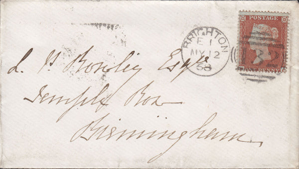 24494 - 1854 1D (SG 17)(PC) VERY LATE USAGE ON 1868 ENVELOPE BRIGHTON TO BIRMINGHAM. Envelope