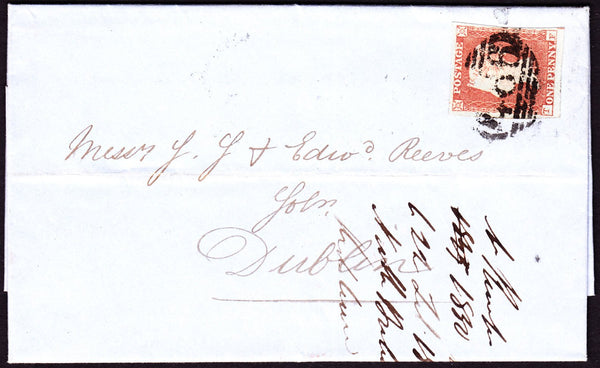 24538 - Pl.99 (TF)(SG8). 1850 entire Liverpool to Dublin w...