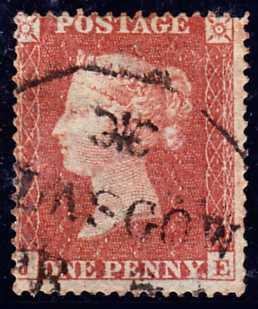 25445 - 1854 1d  Reserve plate 6 (JE) (SG 17). A goo...