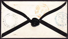 28708 - 1850 SHROPS/'CRESSAGE' UDC. Mourning envelope to Lond...