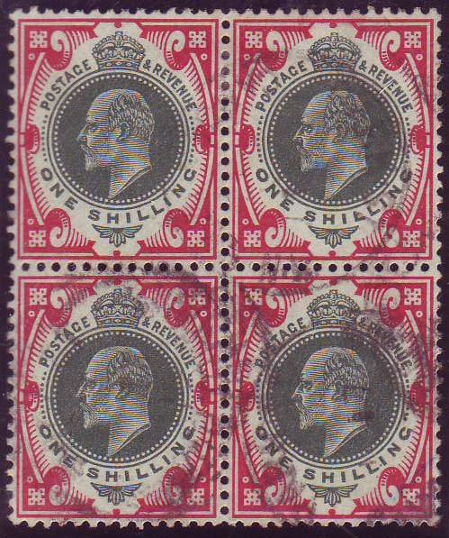 29932 - 1912 1/- green and carmine (SG 314). A good used blo...