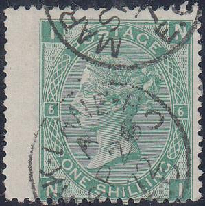 31719 - 1871 1/- green plate 6 (SG 117). A good used examp...