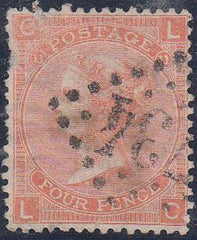 32335 - 1869 4d dull vermilion plate 11 (SG 93). A used ex...
