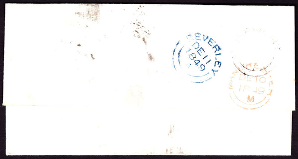 34360 - PLATE 88 (JH)/ALBERT-PLACE UDC (YORKS). 1849 wrapper Manchester to Beverley bearing 1d red...