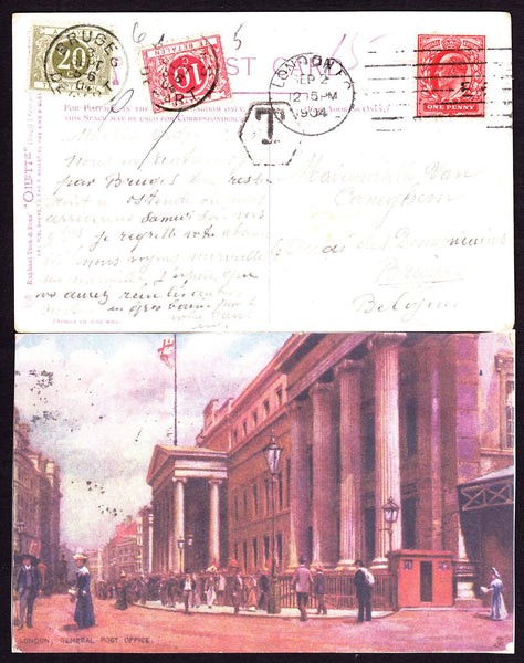 35457 - 1904 UNDERPAID MAIL LONDON TO BELGIUM.
