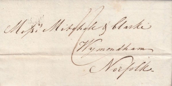36263 - 1827 YORKS/'TOO LATE' HAND STAMP OF HULL (YK1597). Letter Hull to Wymondham (Norfolk) with good ...