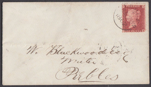 36609 - Pl.55 (SG 40)(CE) ON COVER 'PEEBLES' DATESTAMP. 1862 envelope used locally in P...