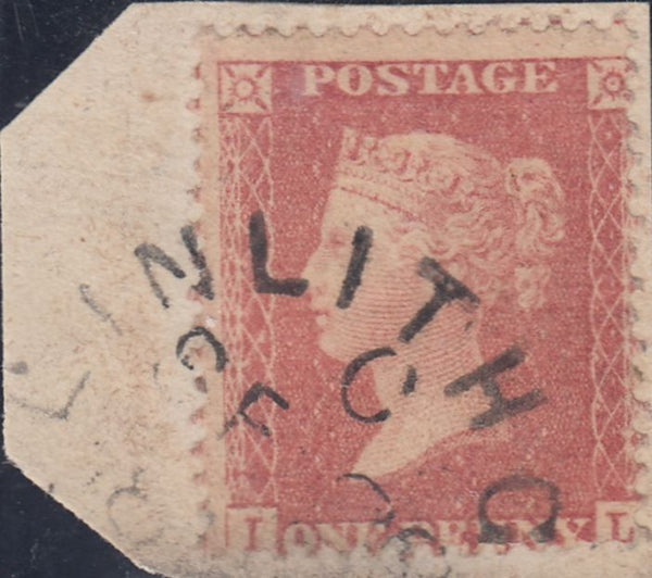 36835 - PL.57 (AI)(SG40) DATED EXAMPLE. Small piece with fine used 1857 Die 2 1d pl. 57