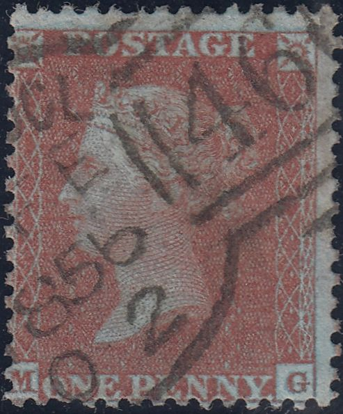 37511 - PL.19 (MG)(SPEC C6). A good to fine used 1855 die 2 pl.19 L.C.14 (Spec C6) lettered MG, several shorter perforations and centred slightly low but nice deep colour and neat Liverpool 1856 cancellation.