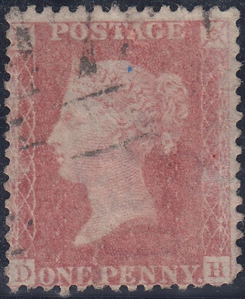 38146 - 1860 DIE 2 1D PLATE 64 (SG40)(DH). Good used 1860 Die 2 1d pale rose on white paper (SG40) lettered DH, several short perforations