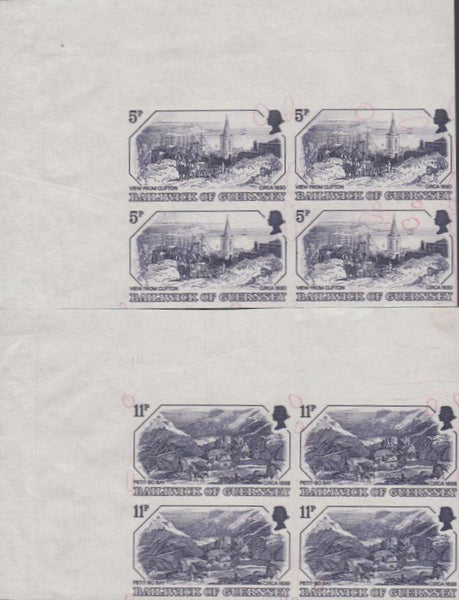 39266 - 1978 GUERNSEY 5p and 11p OLD PRINTS (SG 161/163). Tw...