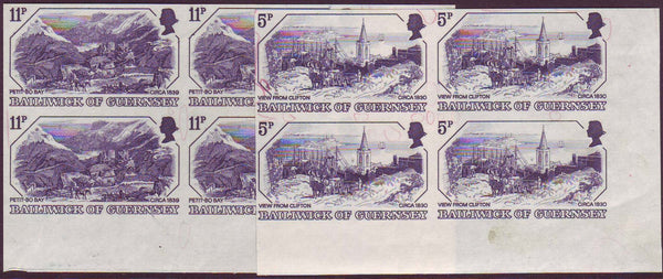 39268 - 1978 GUERNSEY 5p and 11p OLD PRINTS (SG 161/163). Tw...