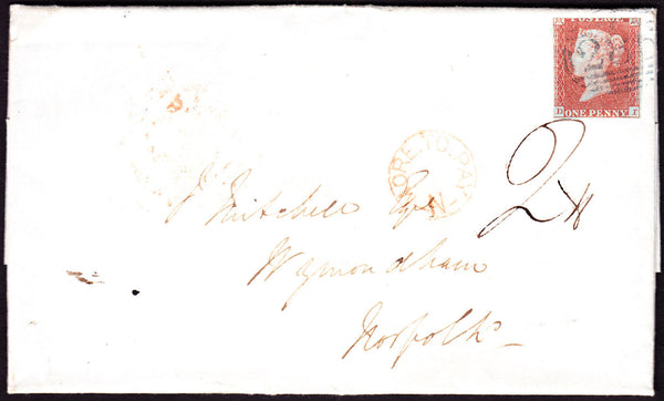 39691 - 1831 letter Exeter to Wymondham bearing cut-into 1...