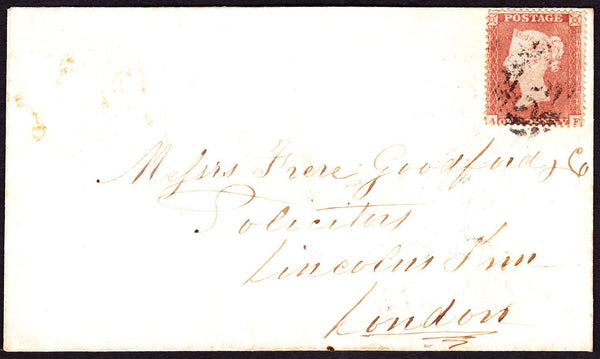 40468 - 1855 envelope to London bearing SG 17 plate 174 le...