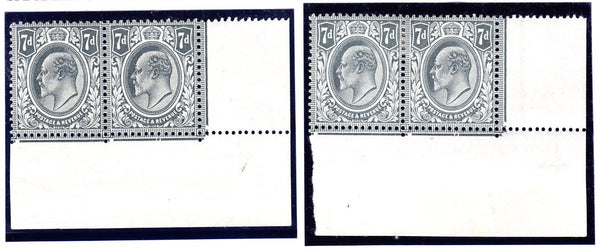 40752 - 1912 KEDVII 7D (SG 305) PLATING CORNER PAIRS. Two fine o.g. lower right