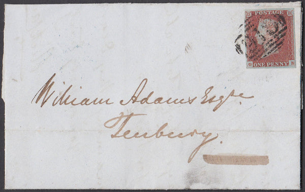 40942 - Pl.85 (GB)(SG8). 1849 wrapper Worcester to Tenbury...