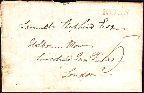 41130 - 1796 HEREFORDSHIRE/'ROSS' HAND STAMP (HF372). Entire, some faults, Ross to London with fine strike of the...