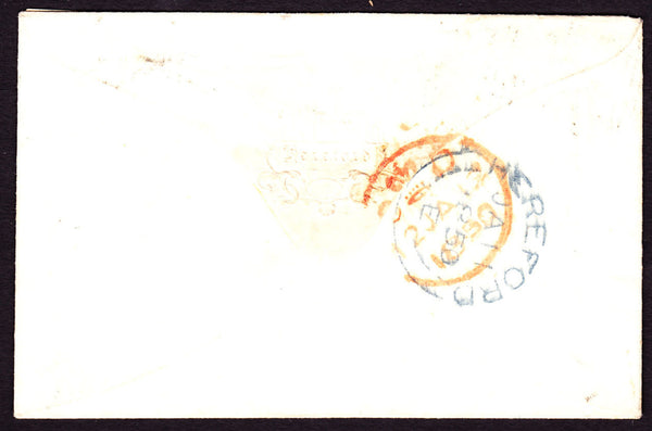 41145 - 1850 envelope Hereford to London with three margin...