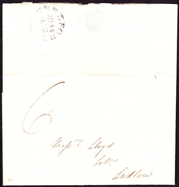 41233 - 1832 wrapper Hereford to Ludlow, postage rate 6d, ...