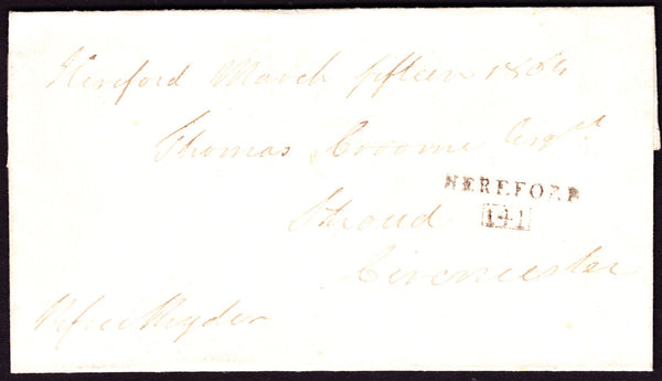 41248 - 1804 wrapper Hereford to Stroud, sent without char...