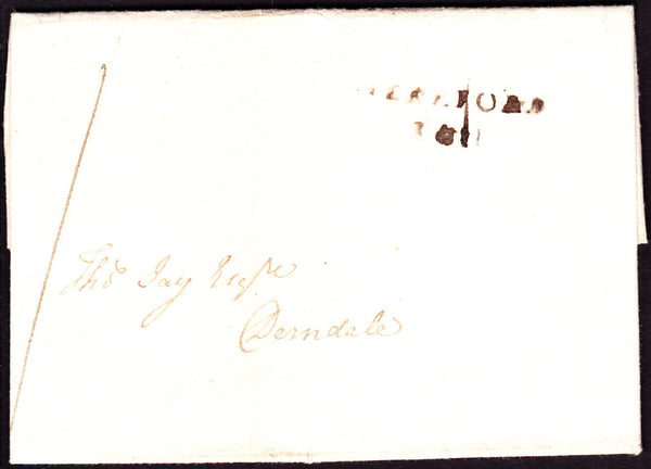 41249 - 1807 MAIL HEREFORD TO DERNDALE/'HEREFORD 141' MILEAGE MARK HF134). Letter Hereford to Derndale with strike of th...