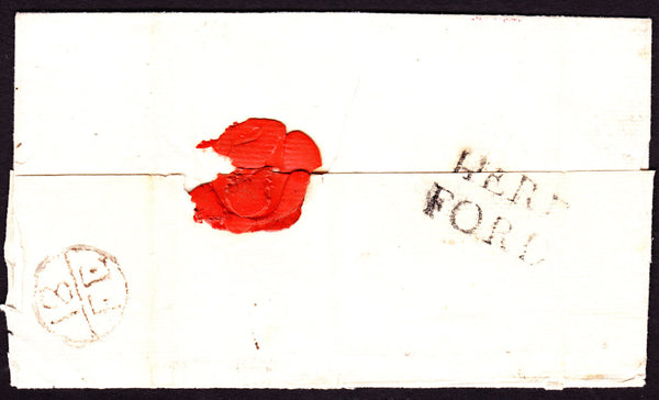 41255 - 1786 HEREFORDSHIRE/'HEREFORD' HAND STAMP (HF116)/QUEEN'S ANNE BOUNTY. Wrapper Hereford to London, postal charge of ...
