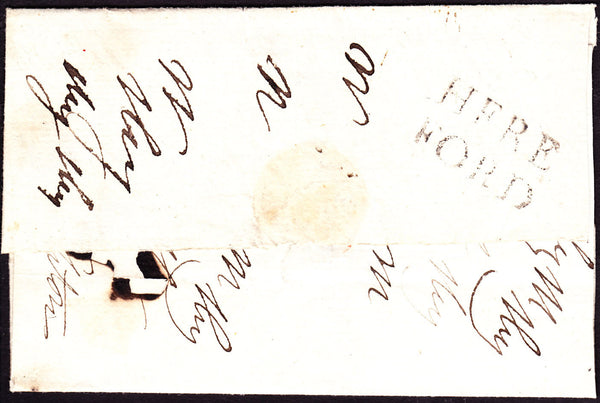 41256 - 1784-86 HEREFORDSHIRE/'HEREFORD' HAND STAMP (HF116). Large part undated wrapper Hereford to Leo...