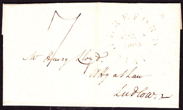 41271 - 1808 HEREFORDSHIRE/'HEREFORD 141' MILEAGE MARK (HF136). Letter Hereford to Ludlow with fine strike of...