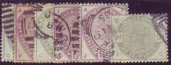 41970 - 1883/4 lilac and green with PLUG FLAWS. A fine group...