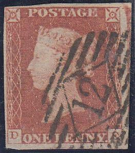 42203 - 1847 1d pl.76 lettered DE (SG 8). A fine used exam...