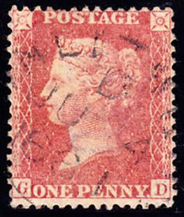 42914 - 1857 1d star (SG 40), good used example lettered G...