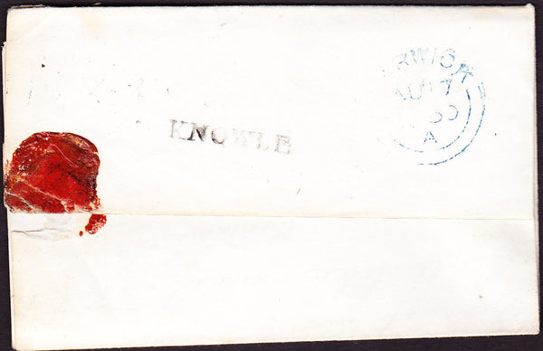 43307 - 1850 WARKS/'KNOWLE' HAND STAMP (WA202)/PL.96(SG8)(HK). Letter Knowle to Warwick with f...