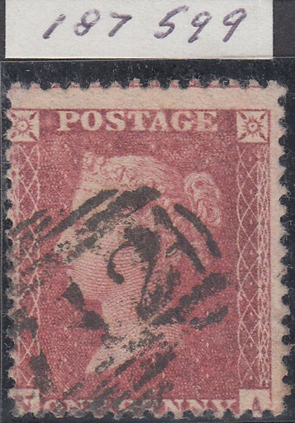 43734 - Pl.33 (NA)(SG40). Good used example 1857 Die 2 1d pl. 33 lettered NA