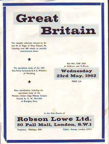 43919 - ROBSON LOWE GREAT BRITAIN SPECIALISED 1962 23rd Ma...