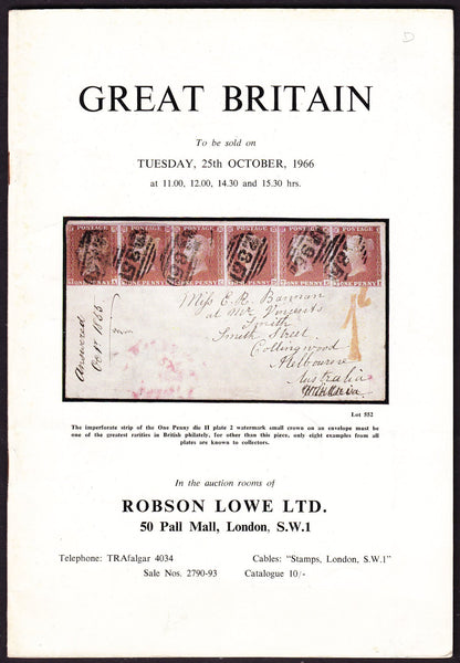 43932 - ROBSON LOWE GREAT BRITAIN SPECIALISED 1966 25th Oc...
