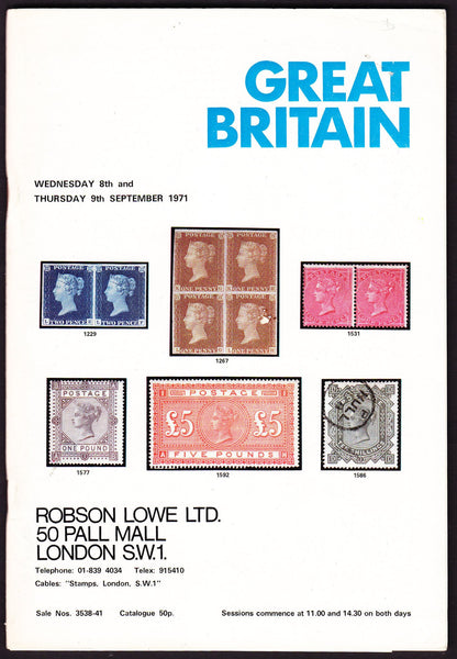 43957 - ROBSON LOWE GREAT BRITAIN SPECIALISED 1971 8th and 9...