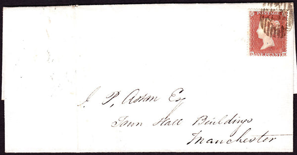 45415 - PL.169(DH)(SG17) ON COVER. 1854 wrapper London to Manchester bearing fine SG ...