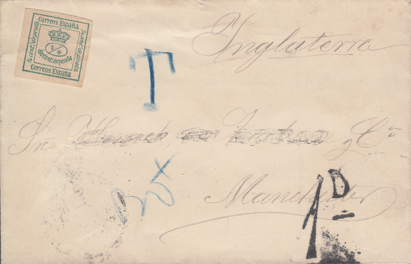 46005 - 1896 UNDERPAID MAIL SPAIN TO MANCHESTER. Envelope Spain to Manchester wit...