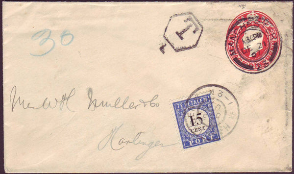 46059 - 1907 UNDERPAID MAIL MANCHESTER TO HOLLAND. KEDVII 1d red postal stationery ...