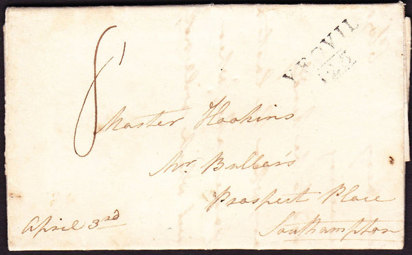 46574 - SOMERSET. 1818 letter Yeovil to Southampton with f...