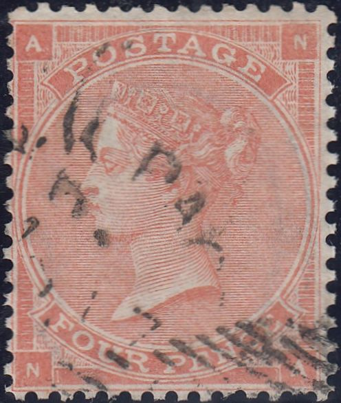 46709 - 1862 4d pale red (SG 80). Good to fine used exampl...