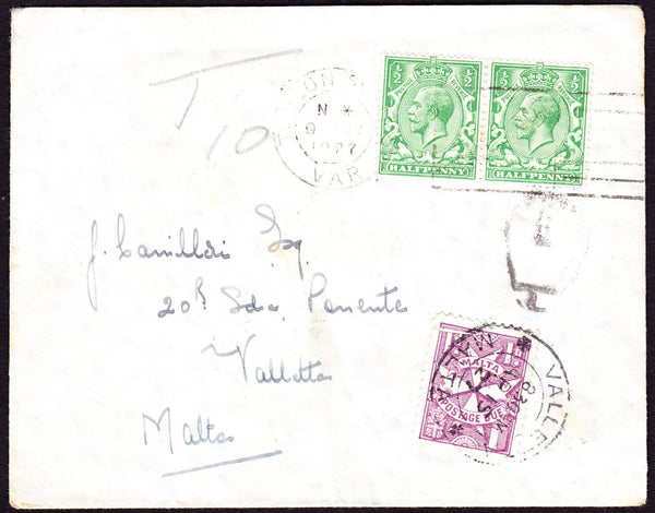 47131 - 1927 MAIL FRANCE TO MALTA ATTEMPTED USAGE OF GB STAMPS TO PAY POSTAGE! Envelope Toulon (France) to Malt...