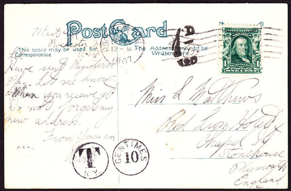 47339 - 1907 UNDERPAID MAIL USA TO PLYMOUTH. Post card Rochester, New York to ...