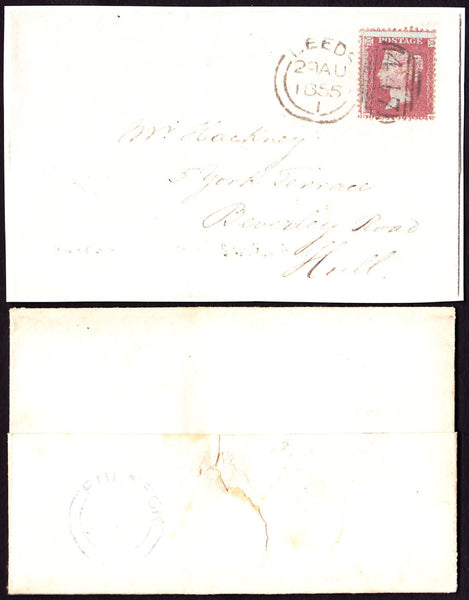 47991 - LEEDS/PL. 2 (RE) . 1855 wrapper Leeds to Hull with die...